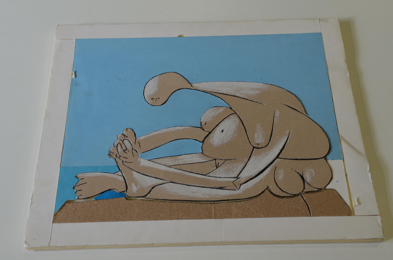 tableau tactile reconstituant le tableau de Picasso Femme sur la plage