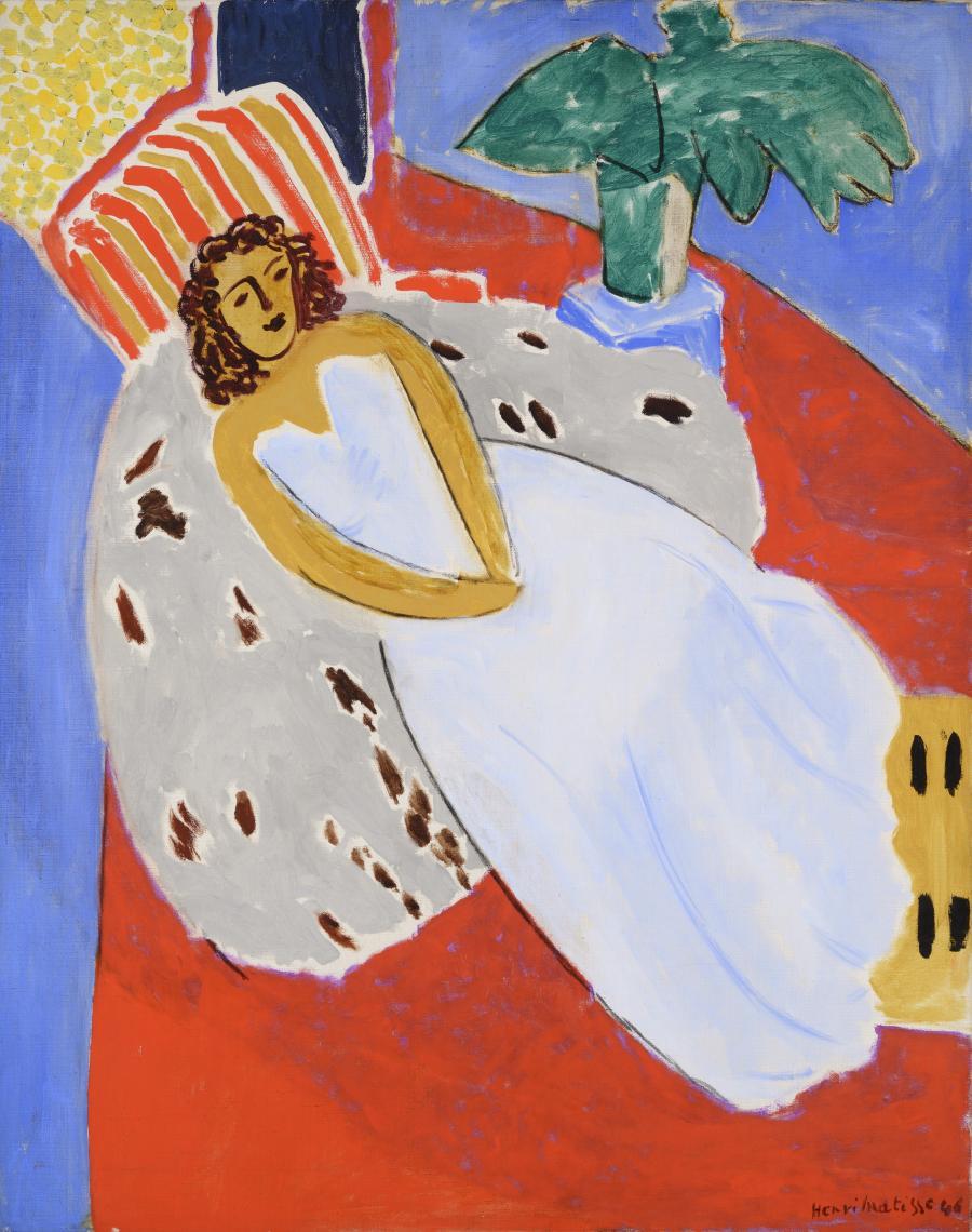 Jeune Femme En Blanc Fond Rouge Modele Allonge Robe Blanche Musee Des Beaux Arts